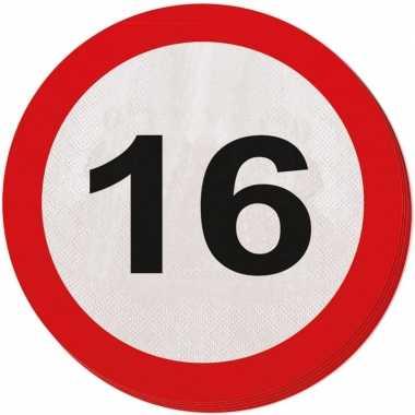 Feestwinkel | 40x zestien/16 jaar feest servetten verkeersbord 33 cm