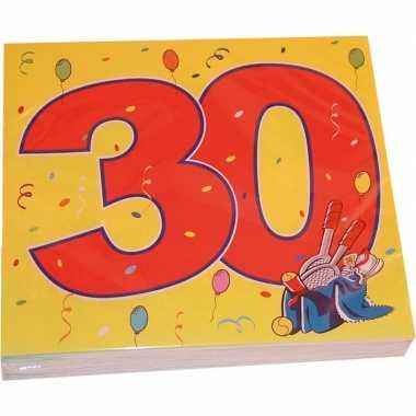 Feestwinkel   48x dertig/30 jaar feest servetten confetti 33 x 33 cm