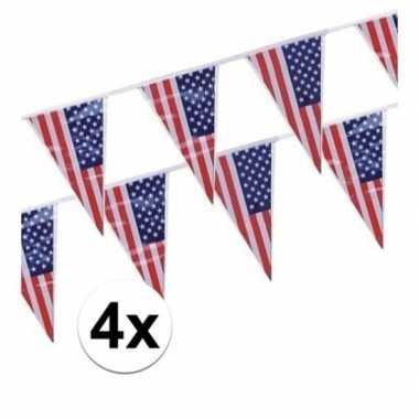 Feestwinkel | 4x amerikaanse usa punt vlaggetjes lijnen morgen amster