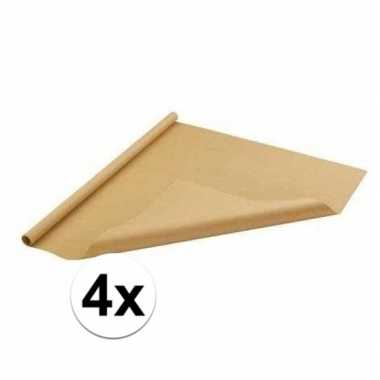 Feestwinkel   4x bruin cadeaupapier 70 x 500 cm morgen amsterdam