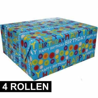 Feestwinkel | 4x happy birthday cadeaupapier 70 x 200 cm morgen amste