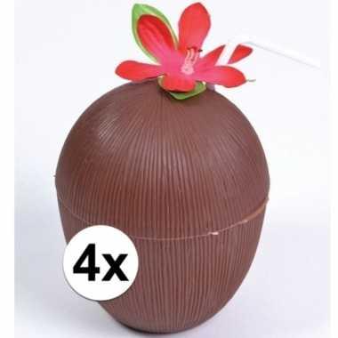 Feestwinkel | 4x hawaii drinkbekers kokosnoot model morgen amsterdam