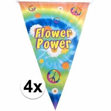 Feestwinkel | 4x hippie feest vlaggenlijnen flower power 5 meter morg