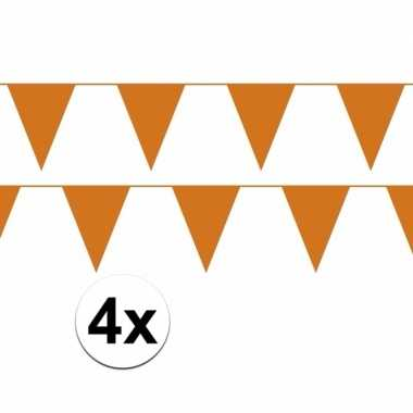 Feestwinkel | 4x oranje plastic slingers 40 meter morgen amsterdam