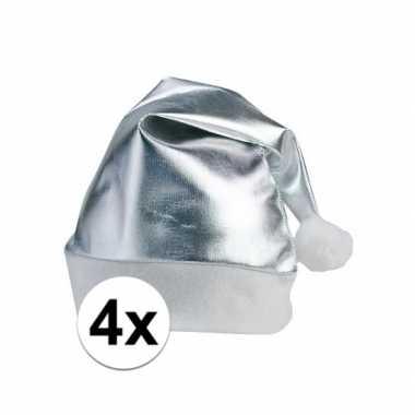 Feestwinkel   4x stuks kerstmutsen glimmend zilver morgen amsterdam
