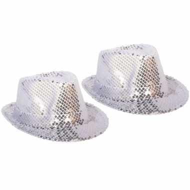 Feestwinkel   4x stuks zilveren verkleed hoedje met pailletten morgen amsterdam