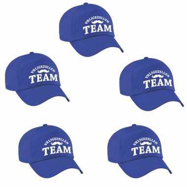 Feestwinkel | 4x vrijgezellen team vrijgezellen petje blauw heren morgen amsterdam