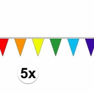 Feestwinkel | 5 stuks regenboog slinger met puntvlaggetjes 5 meter mo