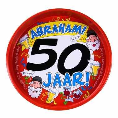 Feestwinkel | 50ste verjaardag abraham metalen dienblad 30 cm morgen