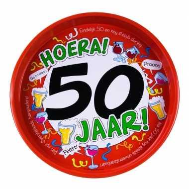 Feestwinkel | 50ste verjaardag metalen dienblad 30 cm morgen amsterda