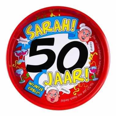 Feestwinkel | 50ste verjaardag sarah metalen dienblad 30 cm morgen am
