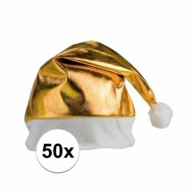 Feestwinkel | 50x stuks kerstmutsen glimmend goud morgen amsterdam