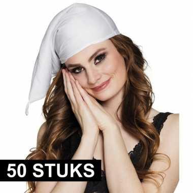 Feestwinkel | 50x stuks voordelige witte slaapmutsen morgen amsterdam