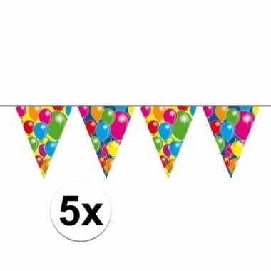 Feestwinkel | 5x ballon vlaggenlijn slingers 10 meter morgen amsterda