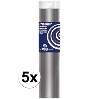 Feestwinkel | 5x hobby crepe papier zilver 250 x 50 cm morgen amsterd