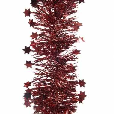 Feestwinkel | 5x kerst lametta guirlandes donkerrood sterren/glinster