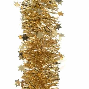 Feestwinkel   5x kerst lametta guirlandes goud sterren/glinsterend 10