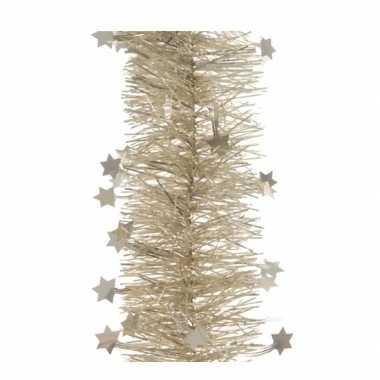 Feestwinkel | 5x kerst lametta guirlandes licht parel/champagne sterren/glinsterend 10 x 270 cm kerstboom versiering/decoratie morgen amsterdam