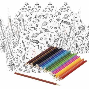 Feestwinkel | 5x kroontjes om in te kleuren met potloden voor kindere