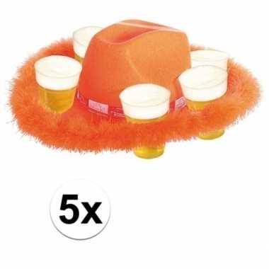 Feestwinkel | 5x oranje bier hoed met bont morgen amsterdam