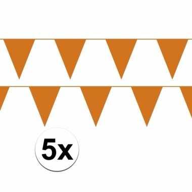 5x oranje plastic slingers 50 meter