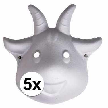 Feestwinkel | 5x papieren geiten masker 22 cm morgen amsterdam