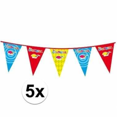 Feestwinkel | 5x plastic carnaval vlaggenlijnen morgen amsterdam