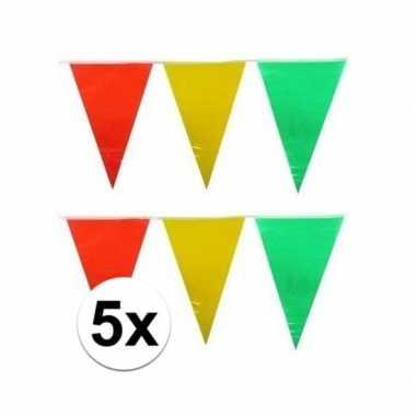 Feestwinkel | 5x plastic vlaggenlijn geel/rood/groen 10 meter morgen