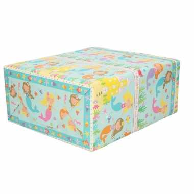 Feestwinkel | 5x rollen kinder verjaardag inpakpapier blauw met zeemeerminnen 200 x 70 cm morgen amsterdam
