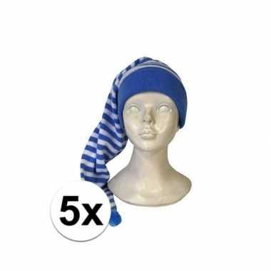 Feestwinkel | 5x stuks voordelige slaapmutsen blauw-witte streepjes m