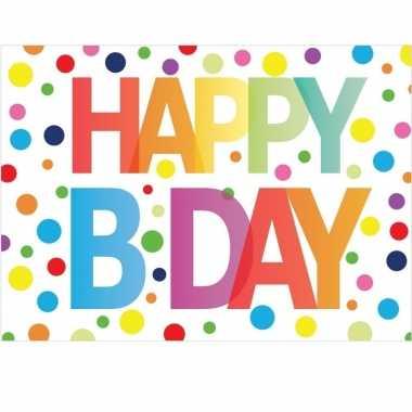 Feestwinkel | 5x verjaardag wenskaart happy b-day 21 x 14,8 cm morgen amsterdam