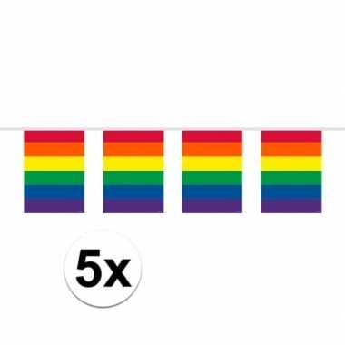 Feestwinkel | 5x vierkante regenboog vlaggenlijnen van 10 meter morge