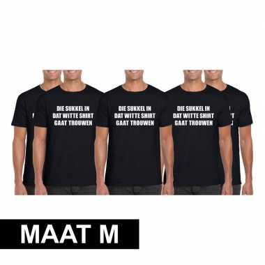 5x vrijgezellen t-shirt vrienden die sukkel gaat trouwen zwart heren maat m