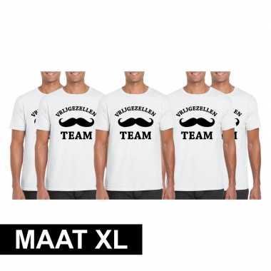 5x vrijgezellenfeest-shirt wit voor heren maat xl