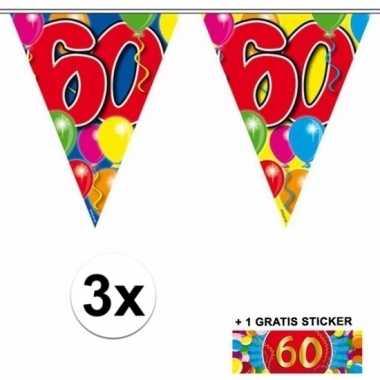 Feestwinkel | 60 jaar vlaggenlijnen 3x met gratis sticker morgen amst