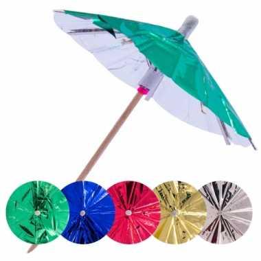 60x gekleurde parasols prikkers 10 cm