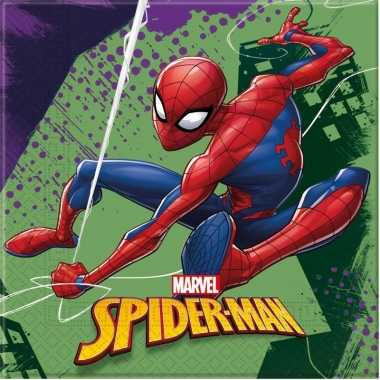 Feestwinkel   60x marvel spiderman servetten 33 x 33 cm kinderverjaar