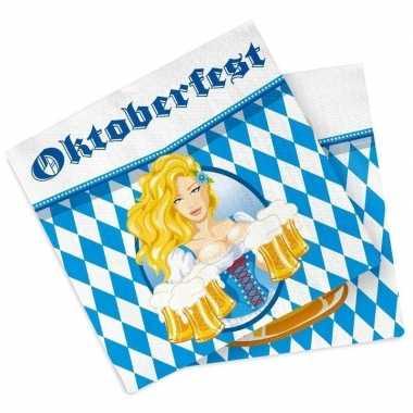 Feestwinkel   60x oktoberfest/bierfeest feest servetten blauw 33 x 33