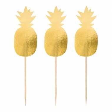Feestwinkel | 60x stuks ananas thema feest prikkers 10 cm morgen amsterdam