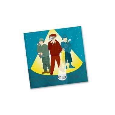 Feestwinkel | 60x stuks detective thema servetten 33 cm morgen amsterdam