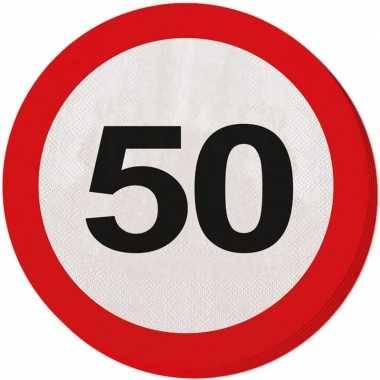 Feestwinkel | 60x vijftig/50 jaar feest servetten verkeersbord 33 cm