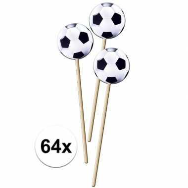 Feestwinkel | 64x voetbal prikkers 20 cm morgen amsterdam