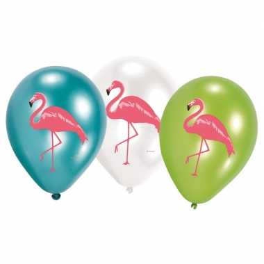Feestwinkel | 6x flamingo feest ballonnen blauw/groen/wit morgen amst