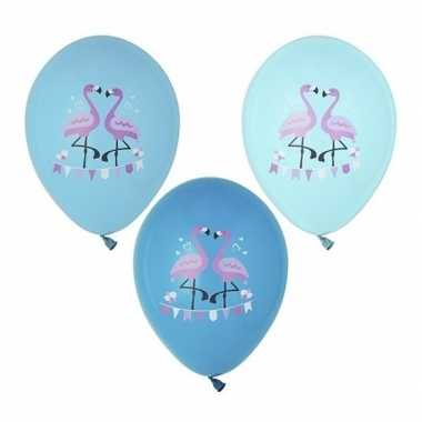 Feestwinkel | 6x flamingo feest ballonnen blauw morgen amsterdam