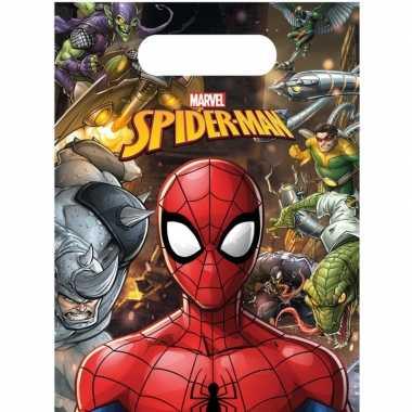 Feestwinkel | 6x marvel spiderman uitdeelzakjes/snoepzakjes 16 x 23 c