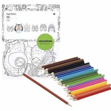 Feestwinkel | 6x maskers om in te kleuren met potloden voor kinderen