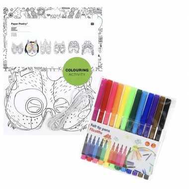 Feestwinkel | 6x maskers om in te kleuren met stiften voor kinderen m