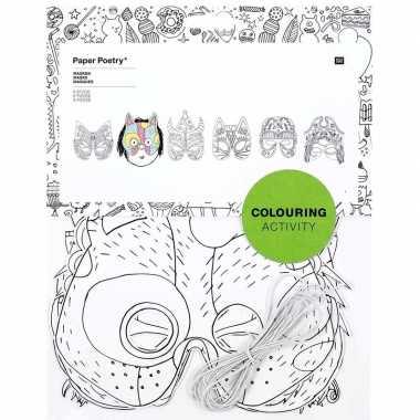 Feestwinkel | 6x maskers om in te kleuren voor kinderen morgen amster