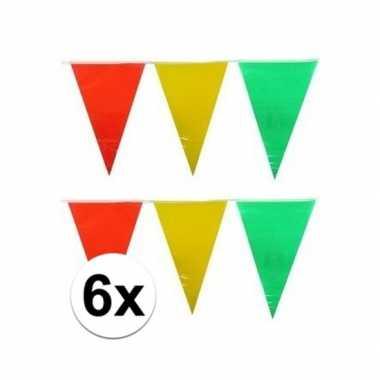 Feestwinkel | 6x plastic vlaggenlijn geel/rood/groen 10 meter morgen