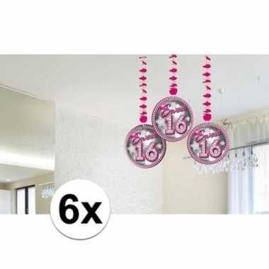 Feestwinkel | 6x roze sweet 16 rotorspiralen morgen amsterdam